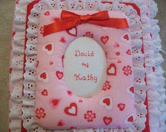 Love / Engagement / Shower / Heart Personalized Fabric Photo Album / Scrapbook - Eyelet