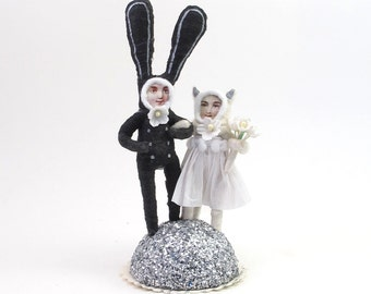 Vintage Inspired Spun Cotton Bunny and Kitty Wedding Cake Topper