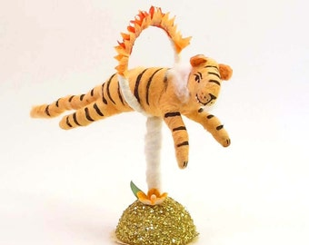 Vintage Inspired Spun Cotton Fire Jumping Tiger Figure