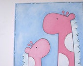 Sale. Ava Mod Giraffe Wall Art 11x14 MOMMY and ME ..Pink Painting for Nursery or bath.  Painted and ready to ship