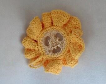 Crochet Cotton Edged Loofah Scrubbie loofah yellow cotton