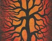 Little Red Oak TREE, Original Acrylic painting by TREEARTIST on ETSY, Jordanka Yaretz