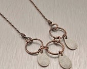Petite Drops Necklace in Oxidized Copper and Cream