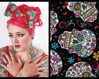 Black Sugar Skulls Bandana, Bandana Head Scarf, Bow Bandanna, Headwrap Bandana, Rockabilly, Retro