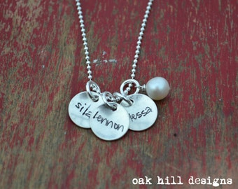 custom name necklace-hand stamped necklace-sterling silver personalized jewelry-triple petite with pearl