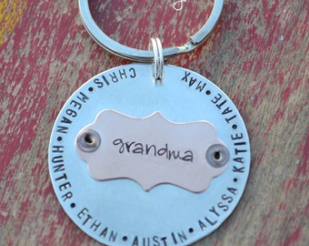 personalized keychain-grandma and grandpa-custom stamped keychain