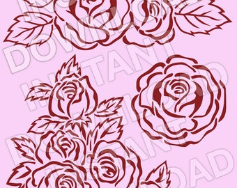 Roses SVG File Cutting Template-Clip Art for Commercial & Personal Use-vector art file for Cricut, SCAL,Cameo,Sizzix,Pazzles,Silhouette