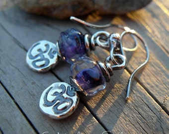 Om Earrings Purple Artisian Lampwork Ohm Earrings