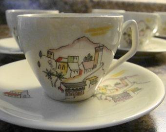 11 Schwarzenhammer Bavaria German Unusual Tea or Coffee Cups and Saucers Set