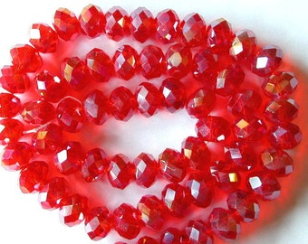 Red Crystal Beads,  6x8mm  Red Crystal Beads (72)