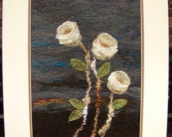 No.757 White on Blue - Needlefelt Art XL - wool painting