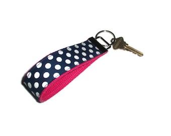 Navy Blue Polka Dot and Hot Pink Wristlet Key Ring