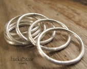 Silver Stack Rings, Brushed Finish Individual Stacking Rings, Sterling Silver Jewelry, Minimalist