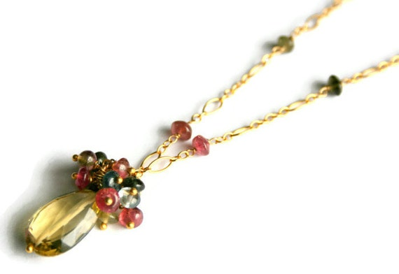 Watermelon Tourmaline Drop Necklace, Gemstone Cluster Teardrop Pendant, Gold Fill Chain