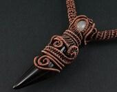 Black Agate Claw, White Quartz and Copper Necklace