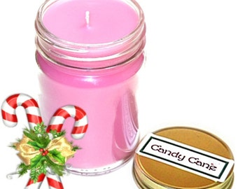Candy Cane Mason Jar Candle Peppermint Scent 12 Oz Handmade