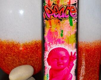 BPCFL  Mixed Media Baby Buddha Graffiti Pink Peace Painting