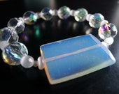 SALE Opalite white and crystal Cancer Awareness HOPE Bracelet - 100 percent donation