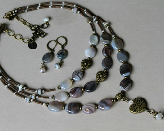 Botswana Agate Dangling Antiqued Brass Heart Three Strand BOHO Style Necklace FREE Matching Earrings