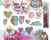 Valentine inspired Mixed media, journaling collage sheets - by Mindy Lacefield