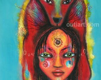 wolf girl, ceramic art tile