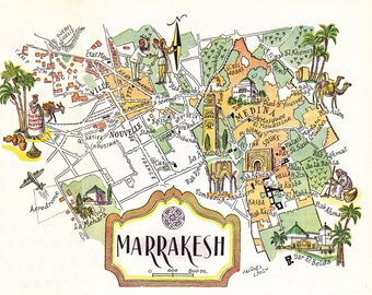old pictorial map of Marrakesh, Morocco from the 1950's,  digital download sheet 503
