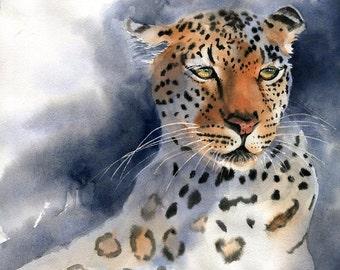 Leopard Art  Print digital file of a Painting Wildlife Cat Wildcat  Watercolor Artist Portrait