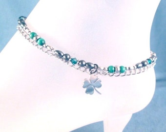 Lucky Bracelet or Anklet Malachite Hematite Gemstones and Swarovski Crystals Luck 4 leaf Clover Stainless Steel Charm and Chains