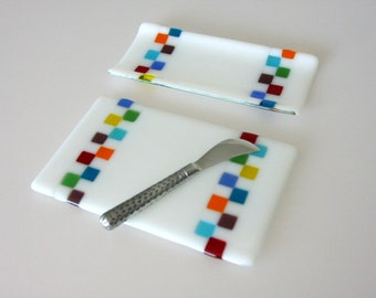Cheese Board and/or Cracker Tray Set Fused Glass Platter Serving Dish, GetGlassy
