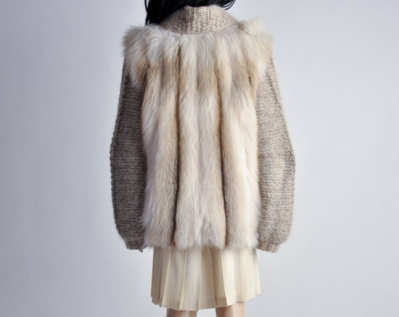 oatmeal wool knit and fox fur sweater coat / s / m