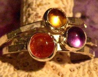 SET - Citrine Amethyst and Sunstone Stacking Ring Set