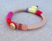 leather crochet and pebble bracelet