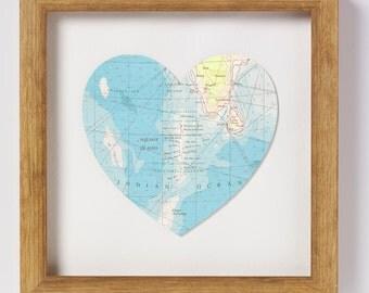 Maldives Map Heart Print - Framed - world map - framed map - wedding gift - anniversary gift - engagement gift - honeymoon keepsake