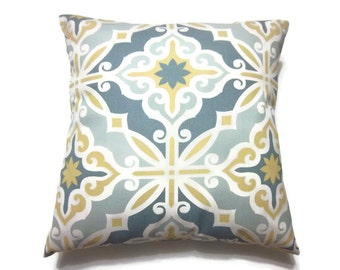 Decorative Pillow Cover Gray White Yellow Damask Design Toss Throw Accent 18x18 inch Cover Same Fabric front and Back x