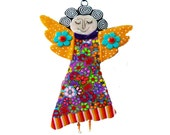 ANGEL -  wall decoration with  flower patterns gift ideas