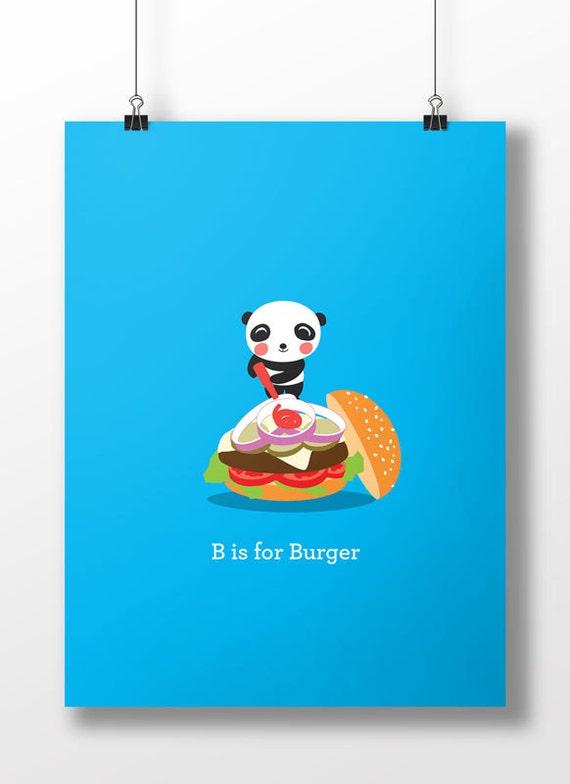 Panda Loves Burger Print - Children's Room Decor - Have You Eaten Series