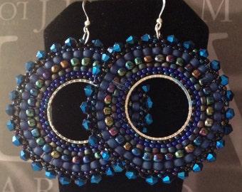 Crystal Beaded Hoop Earrings - INDIGO GODDESS Seed Bead Jewelry