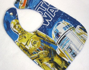 Star Wars baby bib themed one size fits all retro upcycled fabric shower gift inspired