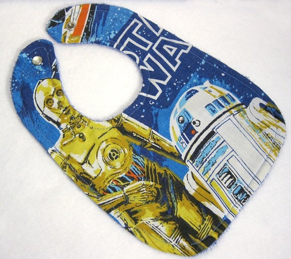 Items similar to star wars baby bib themed one size fits for Baby themed fabric