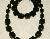 Clearance-Black Cube Necklace Set