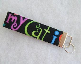 Key Fob wristlet - I love my Cat