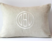 Custom Monogrammed Pillow Cover. Natural LINEN. 12 x 16. Anniversary Engagement Couples. Home Decor Throw Pillow. Dorm Decor. Baby Gift