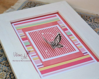 FramedArt  - shabby chic butterfly scrapbooking pattern art in frame by VillemoArt - FR0004