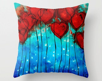 Throw Pillow Hearts Art Design Romantic Home Red And Blue For Bed Couch Decor Artsy Decorating Made Easy Living Room Bedroom Bedding
