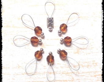 Snag Free Stitch Markers Medium Set of 8 -- Root Beer Faceted Czech Glass -- M82 -- For up to size US 11 (8mm) Knitting Needles