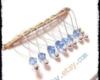 Snag Free Stitch Markers Medium Set of 8 -- Light Blue Glass -- M85 -- For up to size US 11 (8mm) Knitting Needles