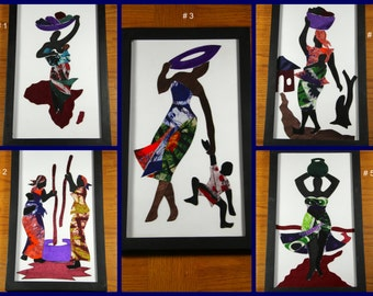 African Fabric, Print, Framed Art, Batik, Wax Print, Fair Trade, OOAK