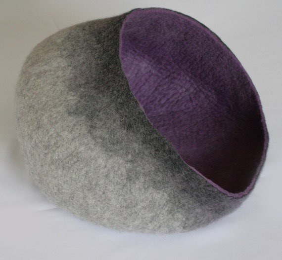 Pet / Dog / Cat Bed / Cave / House / Vessel - Hand Felted Wool - Grey Purple Stone - Crisp Contemporary Design