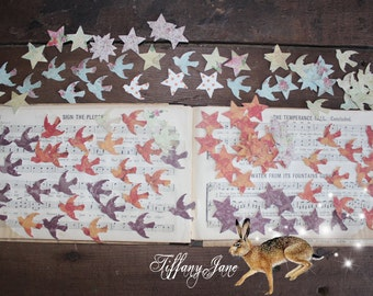 100+Birds-Stars Die Cuts--For Embellishment--Scrapbooking--Art