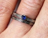 Sapphire wedding ring set - wheat ring - oxidized sterling silver - blue sapphire - September birthstone - braid ring- custom made to order